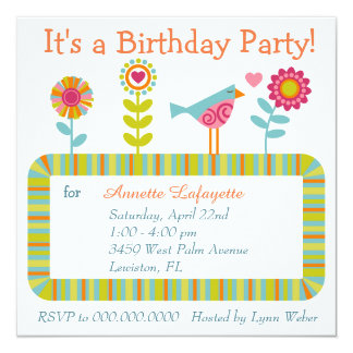 Colourful Flower and Bird Frame Birthday Party Invitation