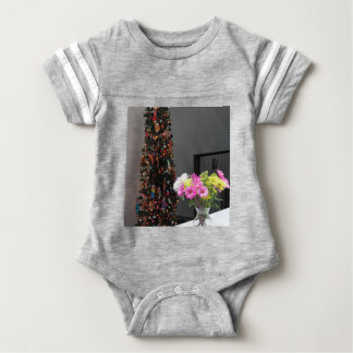Colourful Flower Bouquet and Christmas Tree Baby Bodysuit