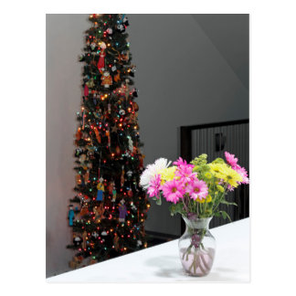 Colourful Flower Bouquet and Christmas Tree Postcard