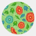 Colourful Flower Pattern Round Sticker
