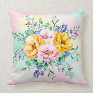Colourful Flowers Bouquet Throw Pillow