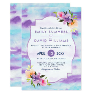 Colourful Flowers BouquetWatercolors Wedding Card