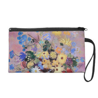 Colourful Flowers in a White Vase Wristlet Purses