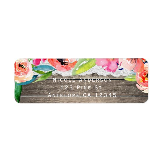 Colourful Flowers Modern Floral Chic Wood & Lace Return Address Label