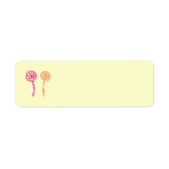 Colourful flowers. Pink and Orange. Return Address Label