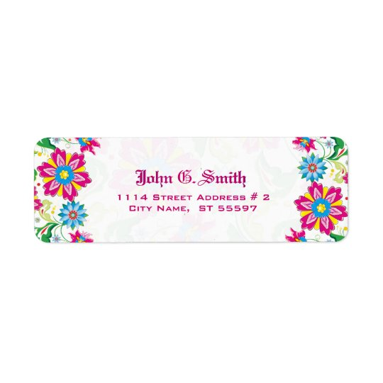 Colourful Flowers Return Address Label