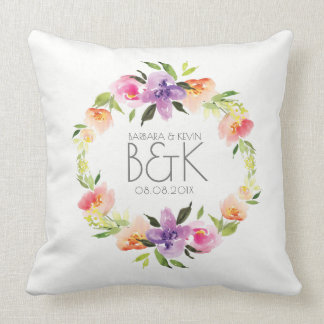Colourful Flowers Wedding Wreath Throw Pillow