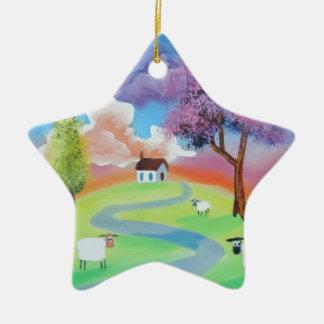 Colourful folk landscape picture of sheep ceramic ornament