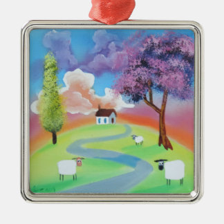Colourful folk landscape picture of sheep Silver-Colored square decoration