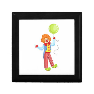 Colourful Friendly Clown With Balloon In Classic Gift Box