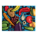 Colourful Fruits and Vegetables on Blue postcard
