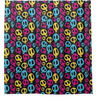 Colourful Funky Skulls Pattern Shower Curtain