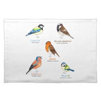 Colourful garden birds placemat
