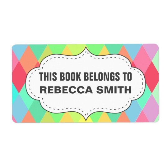 Colourful Geometric Book Label   Bookplate Labels