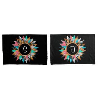 Colourful Geometric Pattern Monogram Pillowcase