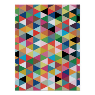Colourful Geometric Triangle Patterned Poster