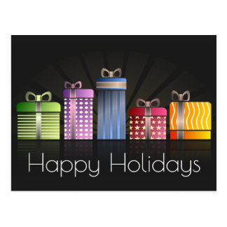 Colourful Gifts Happy Holidays Postcard