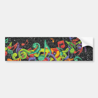 colourful glitter music notes and black effects bumper sticker