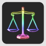Colourful Glowing Scales of Justice   Law Square Sticker