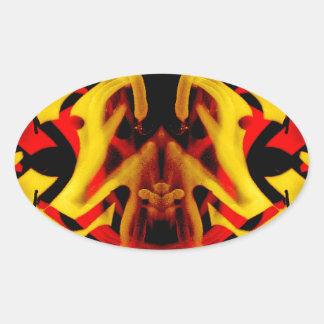 Colourful graffiti pattern oval sticker