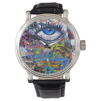 Colourful graffiti street art watch