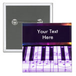 Colourful Grand Piano Keyboard and Music Notes 15 Cm Square Badge