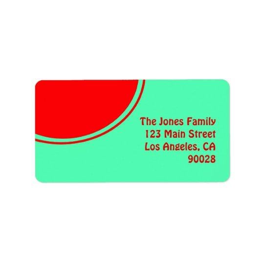 Colourful green red mod address label