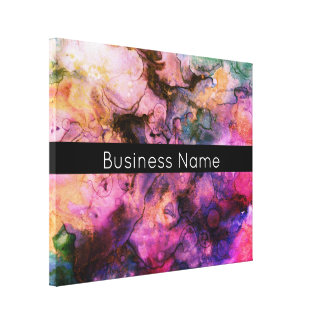 Colourful, Grunge Abstract Paint with Business Canvas Print