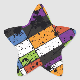 Colourful grunge squares star sticker