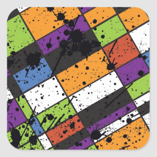 Colourful grunge squares square sticker