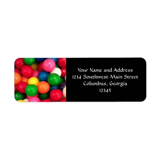 Colourful Gum Ball Candy Return Address Label