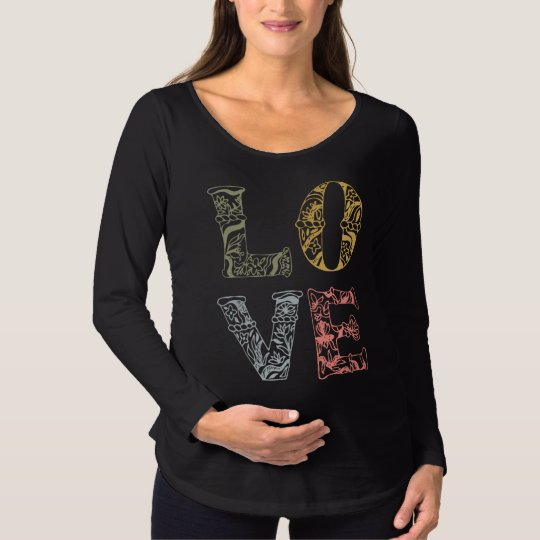 Colourful Hand-drawn Floral Love | Maternity Shirt