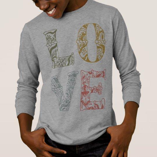 Colourful Hand-drawn Floral Love | Sleeve Shirt