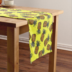 colourful hand painted tropical pineapple pattern short table runner
