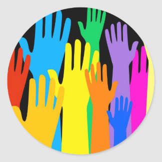 Colourful Hands Classic Round Sticker