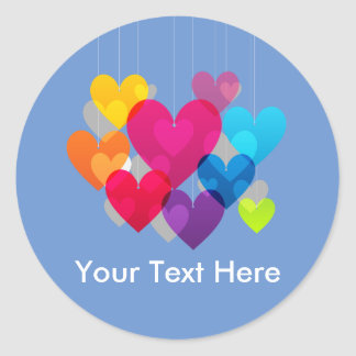 Colourful Hanging Hearts Personalised Round Sticker