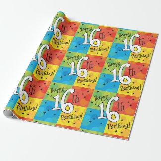 Colourful Happy 16th Birthday Wrapping Paper