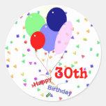 Colourful Happy 30th Birthday Balloons Round Sticker