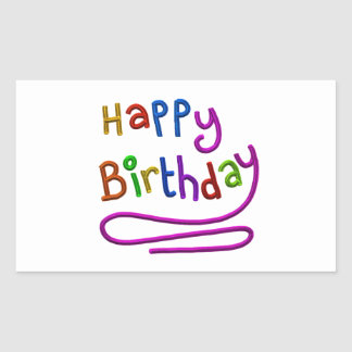 Colourful Happy Birthday Greeting Rectangular Sticker