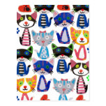 colourful happy cats postcard