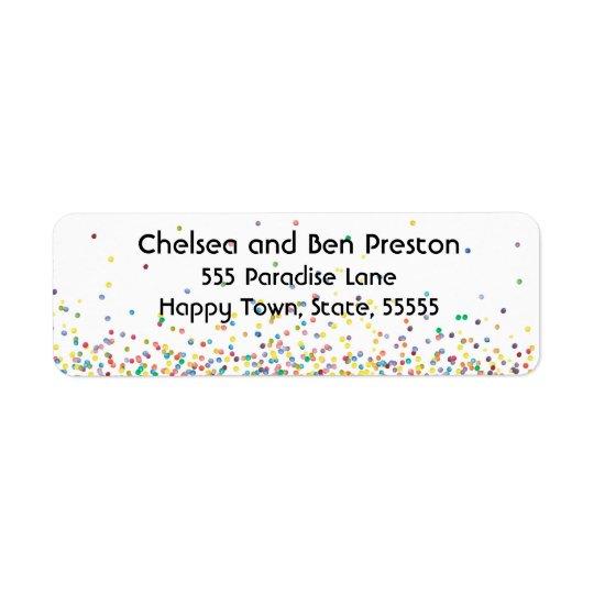 Colourful Happy Confetti Return Address Label