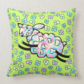 Colourful Happy Sheep Playing in Flower Field Cushion