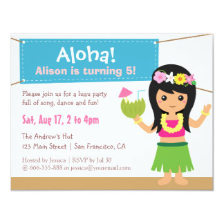 Colourful Hawaiian Themed Hula Girl Luau Party 11 Cm X 14 Cm Invitation Card
