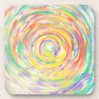 Colourful Heart Psychedelic abstract Art Design Coaster