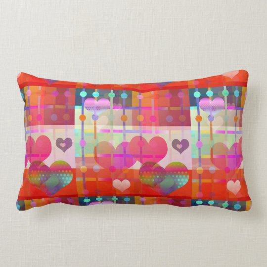 Colourful Hearts Pattern Pillow