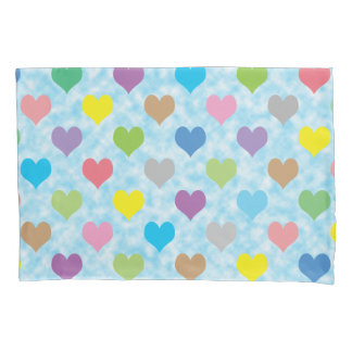 Colourful hearts pattern pillowcase