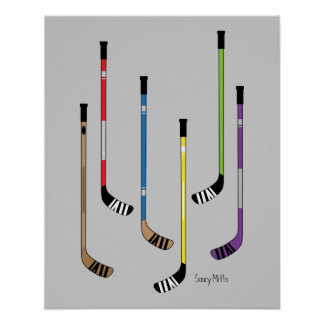 Colourful Hockey Sticks Poster