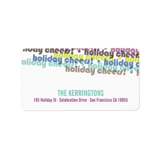 Colourful Holiday Cheers Holiday Address Labels