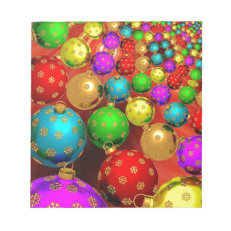 Colourful Holiday Christmas Tree Ornaments Gold Scratch Pad