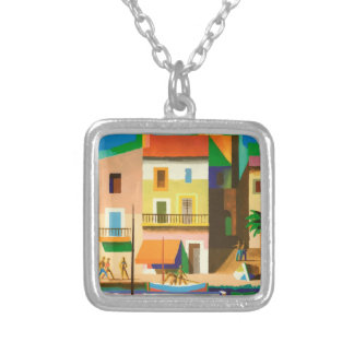 Colourful holiday scene silver plated necklace